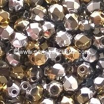 50 BOHEMIAN GLASS FIRE POLISHED FACETED ROUND BEADS 4MM CALIFORNIA SILVER - 00030/98550