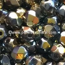 50 BOHEMIAN GLASS FIRE POLISHED FACETED ROUND BEADS 4MM CALIFORNIA SUN - 00030/98551