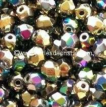 50 BOHEMIAN GLASS FIRE POLISHED FACETED ROUND BEADS 3MM CALIFORNIA BLOOMING MEADOW 00030/98546