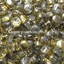 50 PELLETS / DIABOLO 4X6MM GLASS COLOURS CRYSTAL AMBER 00030/26441 - GOLD