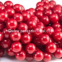 50 PERLES RONDES LISSES 4MM OPAQUE CORAL RED 93200 - ROUGE
