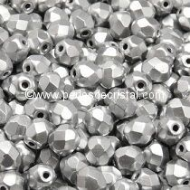 50 BOHEMIAN GLASS FIRE POLISHED FACETED ROUND BEADS 4MM COLOURS SILVER ALUMINIUM MAT - 00030/01700