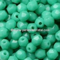 50 BOHEMIAN GLASS FIRE POLISHED FACETED ROUND BEADS 4MM COLOURS OPAQUE GREEN TURQUOISE 63130