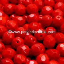 50 BOHEMIAN GLASS FIRE POLISHED FACETED ROUND BEADS 4MM COLOURS OPAQUE CORAL RED 93200