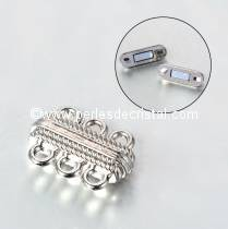 Beautiful magnetic clasp to 3 rows colors SILVER - 23X16X7.5