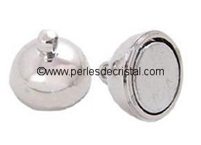 Magnetic clasp, ball - color SILVER - 16X10MM