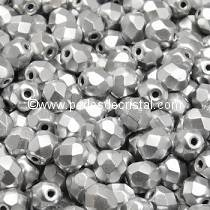 1200 BOHEMIAN GLASS FIRE POLISHED FACETED ROUND BEADS 3MM COLOURS SILVER ALUMINIUM MAT 00030/01700