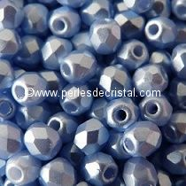 50 BOHEMIAN GLASS FIRE POLISHED FACETED ROUND BEADS 4MM COLOURS PASTEL LIGHT SAPPHIRE 02010/25014