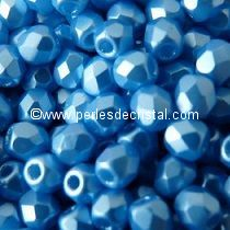 50 BOHEMIAN GLASS FIRE POLISHED FACETED ROUND BEADS 4MM COLOURS PASTEL TURQUOISE 02010/25020 - BLUE