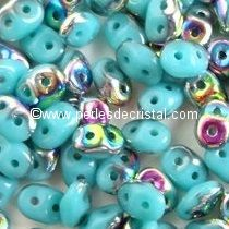 10GR SUPERDUO 2.5X5MM GLASS COLOURS OPAQUE GREEN TURQUOISE SLIPERIT 63130/29500
