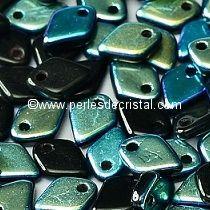 5GR DRAGON® SCALE BEAD 1.5X5MM GLASS COLOURS JET AB 23980/28701 -BLACK/BLUE