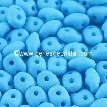 10GR SUPERDUO 2.5X5MM EN VERRE COLORIS OPAQUE BLUE TURQUOISE SILK MAT - 02010/92626
