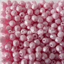 50 BOHEMIAN GLASS FIRE POLISHED FACETED ROUND BEADS 3MM COLOURS PINK PEARL 02010/29305