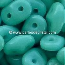 10GR SUPERDUO 2.5X5MM GLASS COLOURS OPAQUE TURQUOISE GREEN 63130