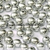 50 SMOOTH ROUND BEADS 3MM CRYSTAL LABRADOR FULL 00030/27000 - SILVER