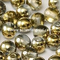 50 PERLES RONDES LISSES 3MM CRYSTAL AMBER 00030/26441 - DORE TRANSPARENT