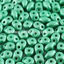 10GR SUPERDUO® 2.5X5MM GLASS COLOURS METALLIC MAT GREEN TURQUOISE 02010/29455