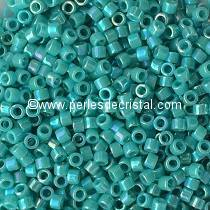 5gr SEED BEADS MIYUKI DELICA 11/0 - 2MM COLOURS OPAQUE TURQUOISE GREEN AB DB0166