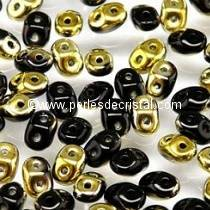 10GR SUPERDUO 2.5X5MM GLASS COLOURS JET DORADO 23980/26441 - JET AMBER