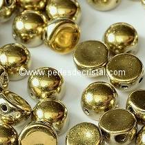 20 GLASS BEADS CABOCHON 2-HOLE 6MM COLOURS CRYSTAL AMBER FULL - GOLD - 00030/26440