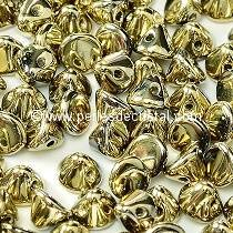 50 PERLES EN VERRE BUTTON BEADS 4MM COLORIS CRYSTAL AMBER FULL - DORE - 00030/26440