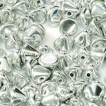 50 PERLES EN VERRE BUTTON BEADS 4MM COLORIS CRYSTAL LABRADOR FULL - ARGENT - 00030/27000