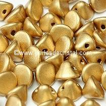 50 PERLES EN VERRE BUTTON BEADS 4MM COLORIS LIGHT GOLD MAT 01710 - AZTEC GOLD - DORE MAT