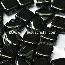 50 SILKY BEADS 6X6MM DIAMOND COLORIS JET 23980 - BLACK