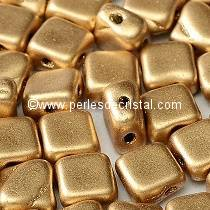 50 SILKY BEADS 6X6MM LOSANGE COLORIS LIGHT GOLD MAT 01710 - AZTEC GOLD - DORE MAT