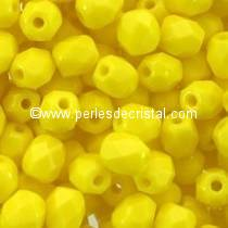 50 BOHEMIAN GLASS FIRE POLISHED FACETED ROUND BEADS 4MM COLOURS OPAQUE YELLOW 83120