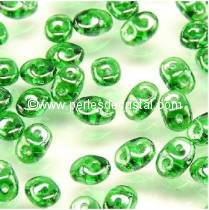 100GR SUPERDUO 2.5X5MM GLASS COLOURS GREEN LUSTER 50050/14400