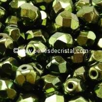 20 BOHEMIAN GLASS FIRE POLISHED FACETED ROUND BEADS 8MM COLOURS METALLIC GREEN 23980/14495 JET GREEN LUSTER