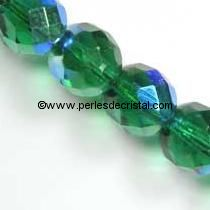 25 BOHEMIAN GLASS FIRE POLISHED FACETED ROUND BEADS 6MM COLOURS EMERALD AB 50720/28701