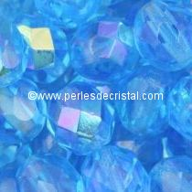 25 BOHEMIAN GLASS FIRE POLISHED FACETED ROUND BEADS 6MM COLOURS AQUAMARINE AB 60010/28701