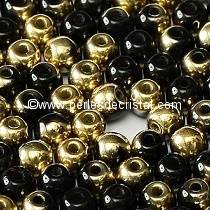 50 SMOOTH ROUND BEADS 4MM JET DORADO 23980/26441 - BLACK GOLD
