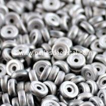 5GR WHEEL BEADS 6MM GLASS COLOURS SILVER MATTED 03000/27070