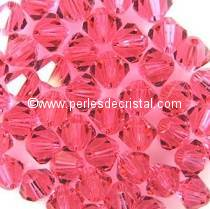 50 BICONES 4MM CRISTAL SWAROVSKI COLOURS INDIAN PINK #5328