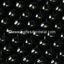 25 PERLES RONDES LISSES 6MM JET 23980 - NOIR / BLACK
