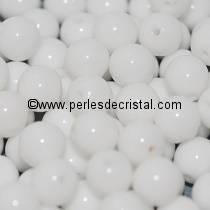 25 PERLES RONDES LISSES 6MM OPAQUE WHITE 03000 - BLANC