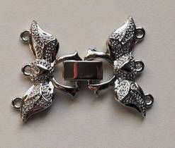 Clasp clip, 3 rows, wing shape and heart SILVER 29X25MM