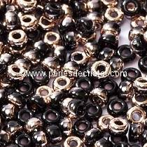 10gr SEED BEADS MIYUKI 11/0 - 2MM COLOURS BLACK CAPRI GOLD 55034