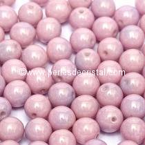 50 PERLES RONDES LISSES 4MM OPAQUE LIGHT ROSE CERAMIC LOOK 03000/14494