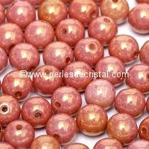 50 PERLES RONDES LISSES 4MM OPAQUE ROUGE / ORANGE CERAMIC LOOK 02010/14497