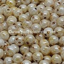 50 PERLES RONDES LISSES 4MM OPAQUE IVORY CERAMIC LOOK 02010/65401