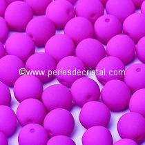 50 PERLES RONDES LISSES 4MM VIOLET NEON MAT 02010/25125 - NEON DARK PURPLE