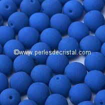 50 SMOOTH ROUND BEADS 4MM AQUAMARINE NEON MAT 02010-25127 NEON SMURFS BLUE