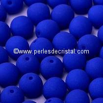 25 SMOOTH ROUND BEADS 6MM BLUE NEON MAT 02010/25126 NEON OCEAN BLUE