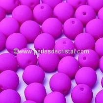25 PERLES RONDES LISSES 6MM VIOLET NEON MAT 02010/25125 NEON DARK PURPLE