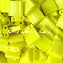 5GR TILAS MIYUKI 5X5MM GLASS BEADS COLOURS OPAQUE YELLOW AB MATTED TL-0404FR