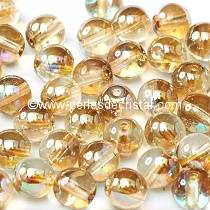 50 PERLES RONDES LISSES 4MM CRYSTAL BROWN RAINBOW 00030/98532